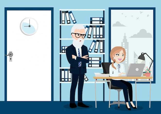 La gente di affari raggruppa, capo e personale o lavoratori nel fondo dell'ufficio nello stile del personaggio dei cartoni animati. Vettore Premium