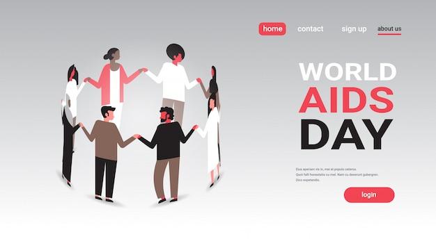 La gente di consapevolezza di giornata mondiale contro l'aids raggruppa la condizione nel cerchio che si tiene per mano la prevenzione medica di concetto dell'associazione Vettore Premium
