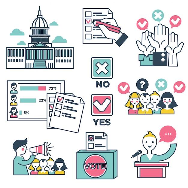 La gente di elezioni di voto e di voto vector le icone Vettore Premium