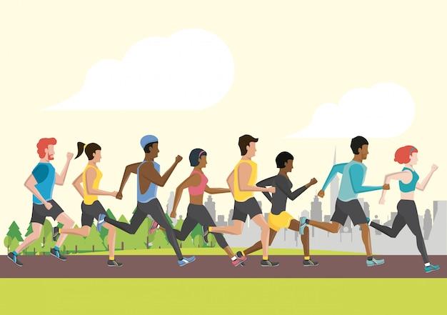 La gente di forma fisica che corre Vettore Premium