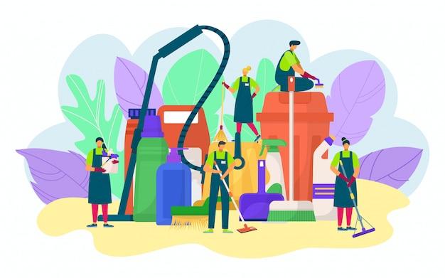 La gente di servizio di pulizia con il concetto di detersivo, illustrazione. secchio, mop, spugna per lavaggio, lavori domestici. personale professionale della compagnia di pulizie, igiene domestica Vettore Premium