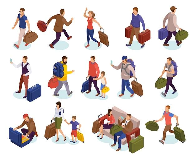 La gente di viaggio ha isolato le icone messe dei caratteri con i bagagli che aspettano affrettandosi per atterrare i passeggeri arrivanti di riunione isometrici Vettore gratuito