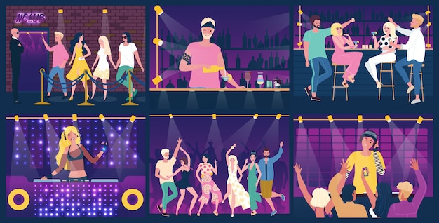 La gente divertendosi alla festa in night-club, ballando e bevendo, illustrazione Vettore Premium