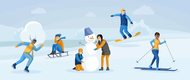 La gente divertendosi inverno illustrazione piana Vettore Premium