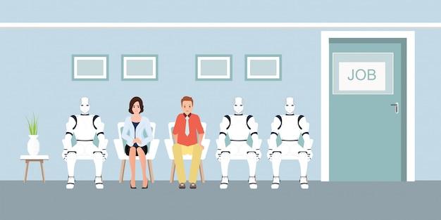 La gente e la coda del robot in attesa di job interview in ufficio. Vettore Premium