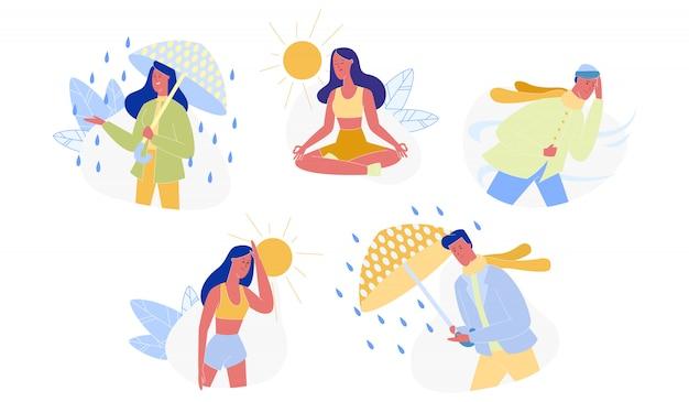 La gente e le stagioni, insieme differente del tempo isolato Vettore Premium