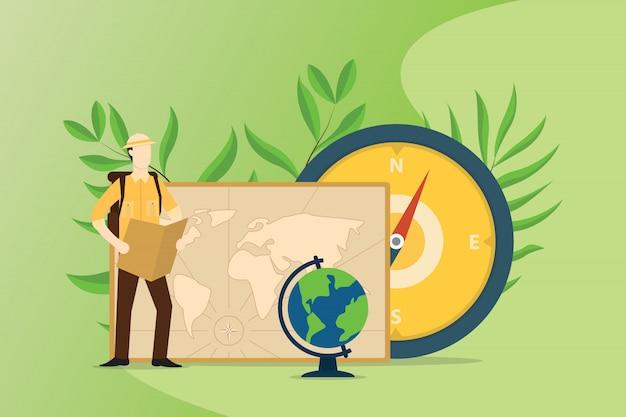 La gente esplora e avventura il mondo con la bussola delle mappe Vettore Premium
