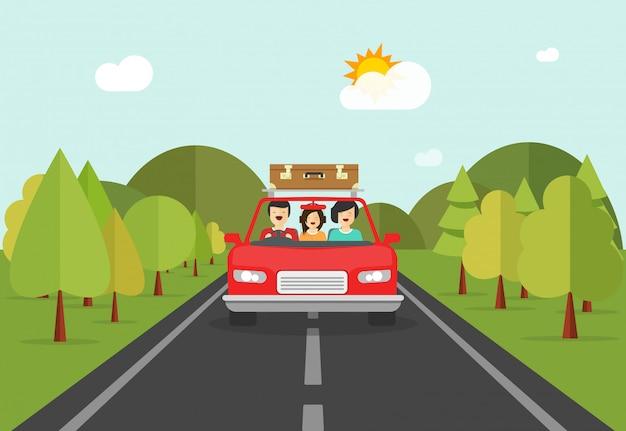 La gente felice della famiglia inciampa viaggiando tramite l'illustrazione di vettore dell'automobile Vettore Premium