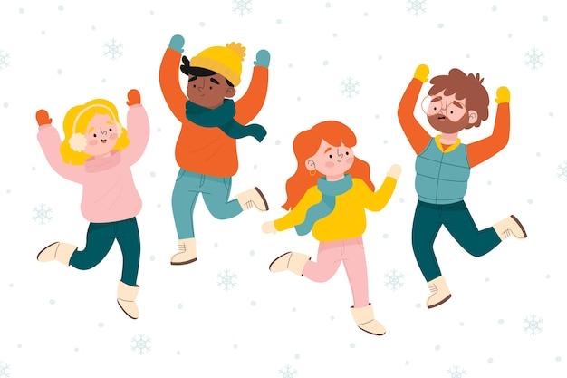 La gente felice salta il fondo della stagione invernale Vettore gratuito