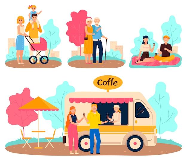 La gente in parco, passeggiata della famiglia e appuntamento romantico, illustrazione di vettore del personaggio dei cartoni animati Vettore Premium