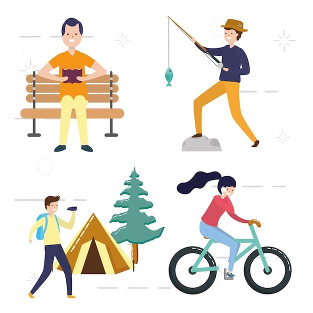 La gente la mia gente di hobby che fa attività di pesca, campeggio, andare in bicicletta, leggere, illustrazione Vettore gratuito