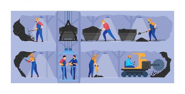 La gente lavora nell'illustrazione dell'industria estrattiva, personaggi dei cartoni animati del minatore che lavorano nei tunnel sotterranei, estrazione del fondo di affari Vettore Premium