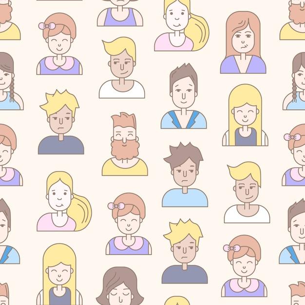 La gente lineare piatta affronta il modello senza cuciture. avatar social media, userpic e profili. Vettore gratuito