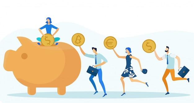 La gente mette diverse monete nel salvadanaio Vettore Premium