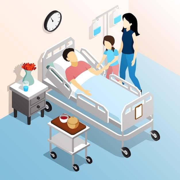 La gente nel concetto di progetto isometrico dell'ospedale con i membri della famiglia che visitano l'illustrazione piana relativa malata di vettore Vettore gratuito