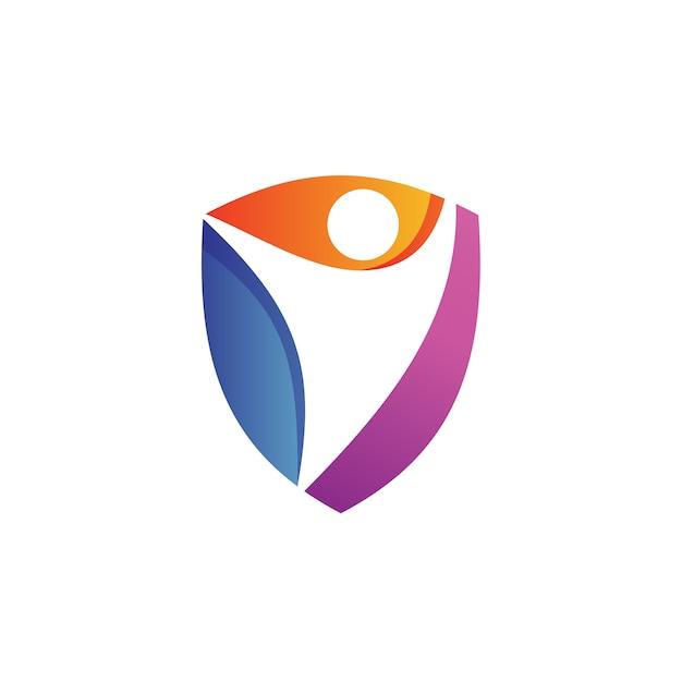 La gente nel fondo di scudo logo vector Vettore Premium