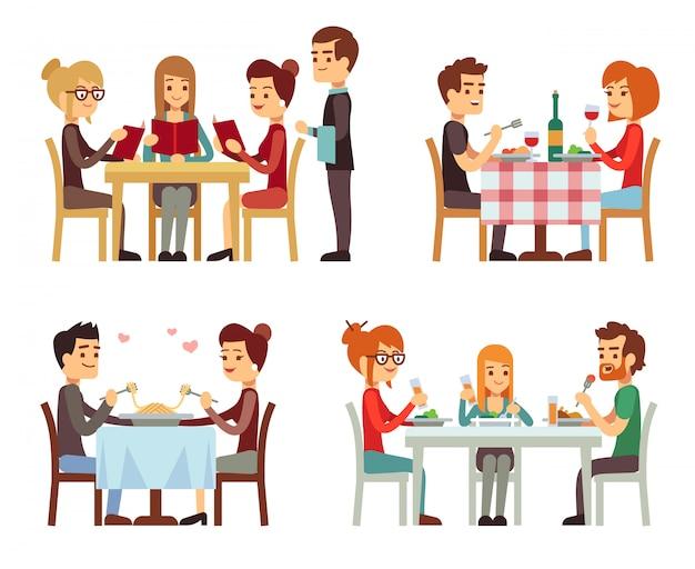 La gente nel ristorante che mangia i concetti piani di vettore della cena Vettore Premium