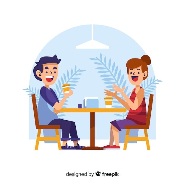 La gente parla mentre beve il caffè Vettore gratuito