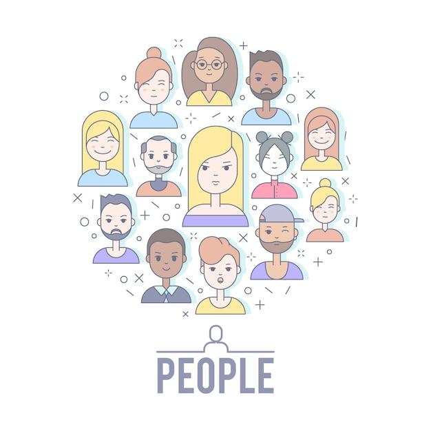 La gente piana lineare affronta l'illustrazione. avatar social media, userpic e profili. Vettore gratuito