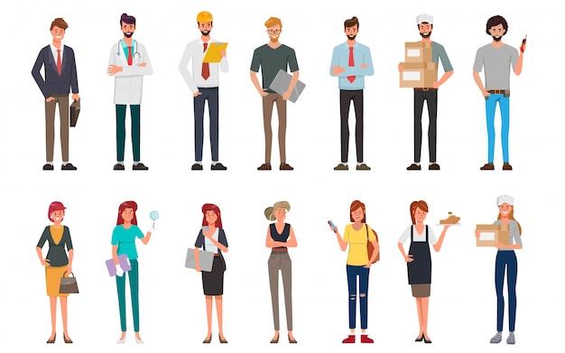 La gente raggruppa l'insieme di lavoro differente di occupazione e la festa del lavoro internazionale. Vettore Premium