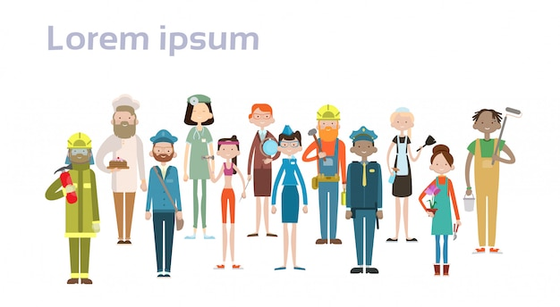 La gente raggruppa l'insieme differente di occupazione, lavoratori della corsa della miscela dei dipendenti Vettore Premium