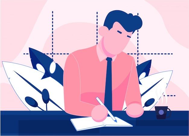 La gente scrive su carta per pagina di destinazione Vettore Premium