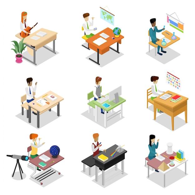 La gente seduta al tavolo isometrico 3d set Vettore Premium