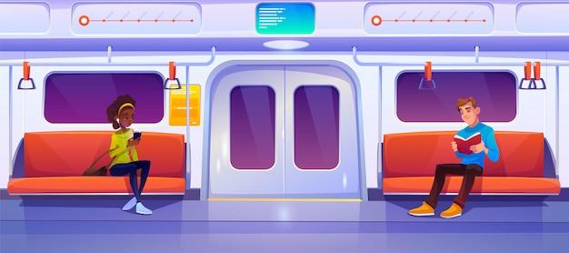 La gente seduta in vagone della metropolitana, vagone della metropolitana Vettore gratuito
