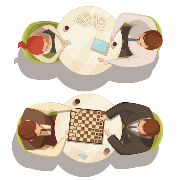 La gente sopra la tazza di caffè alle tavole rotonde che giocano i controllori e l'illustrazione piana di conversazione di vettore del fumetto di vista superiore Vettore gratuito