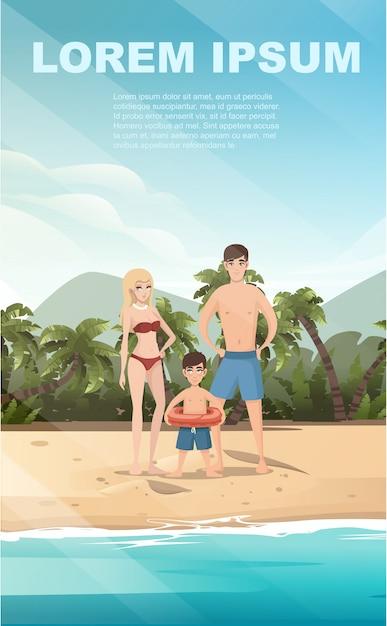 La gente sul paesaggio tropicale della spiaggia della bella spiaggia della riva di mare della costa con le palme e le piante su progettazione verticale dell'insegna dell'illustrazione piana di buon giorno soleggiato Vettore Premium
