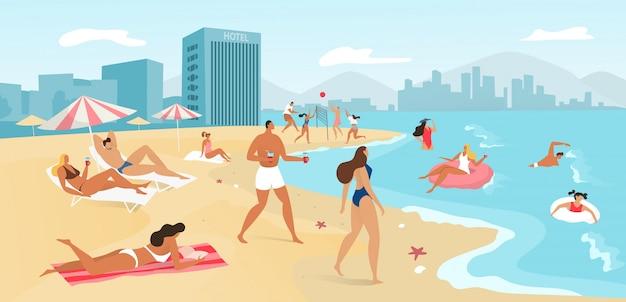La gente sulla spiaggia dell'estate abbellisce, viaggia al concetto tropicale del mare, prendendo il sole e nuotando nell'oceano, illustrazione della località di soggiorno. Vettore Premium