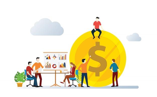 La gestione degli investimenti della squadra discute insieme per accrescere e aumentare l'illustrazione vettoriale Vettore Premium