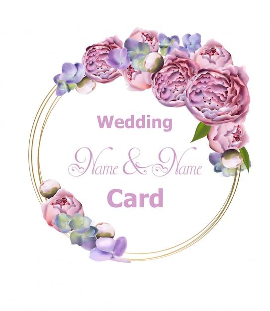 La ghirlanda di nozze con la peonia fiorisce l'acquerello Vettore Premium