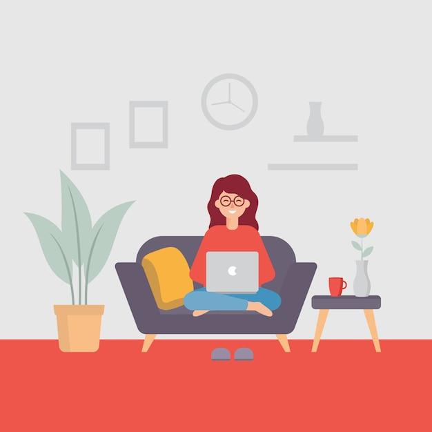 La giovane donna che lavora al computer portatile, lavora dall'illustrazione domestica Vettore Premium
