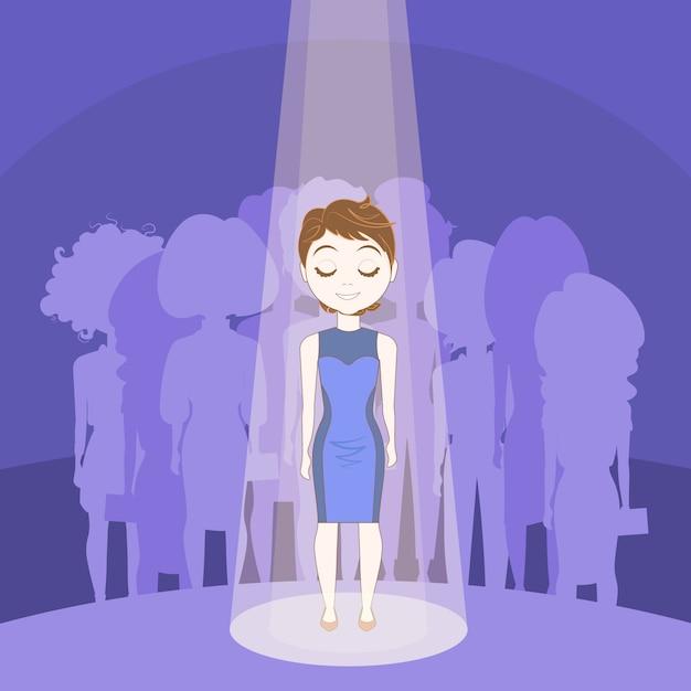 La giovane donna che sta fuori ammucchia nella luce del punto sopra il fondo del gruppo della gente della siluetta Vettore Premium