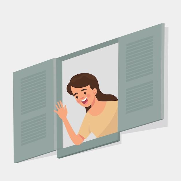 La giovane donna saluta da una finestra aperta Vettore Premium