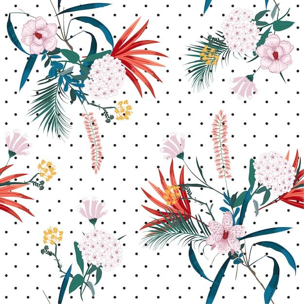 La giungla tropicale e i fiori in fiore si mescolano Vettore Premium