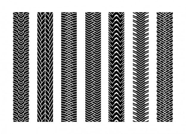 La gomma nera segue l'automobile della ruota o il trasporto fissato sul modello di struttura della strada per l'automobile. illustrazione vettoriale di traccia Vettore Premium