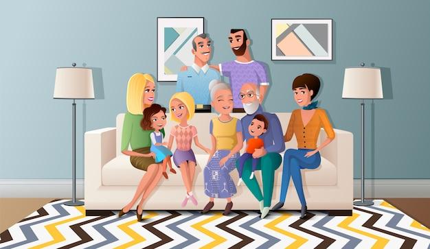 La grande famiglia si è raccolta insieme il vettore del fumetto Vettore Premium