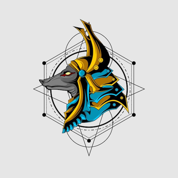 La grande geometria sacra anubis Vettore Premium
