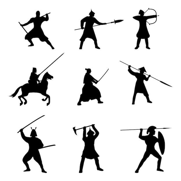 La grande serie di silhouette di guerrieri Vettore Premium