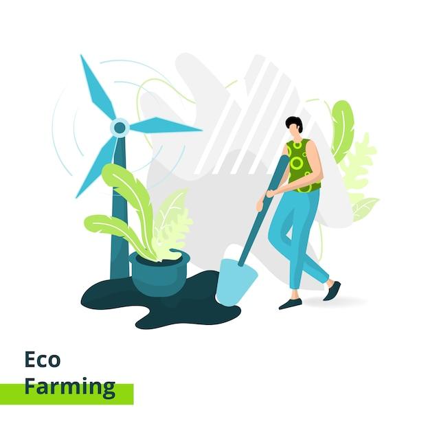 La landing page di eco farming, il concetto di uomo che trasporta una pala per l'agricoltura Vettore Premium