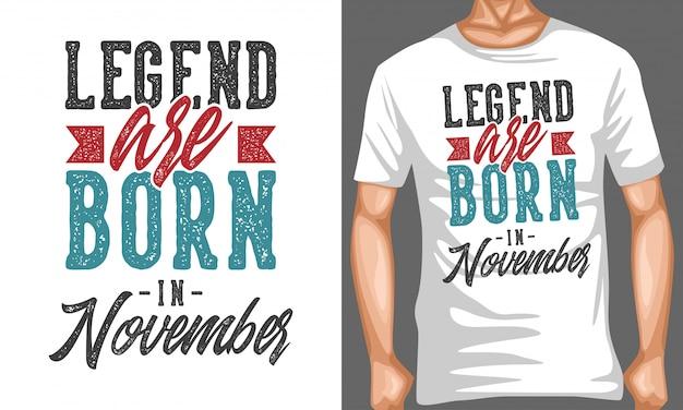 La leggenda nasce a novembre con le citazioni tipografiche Vettore Premium