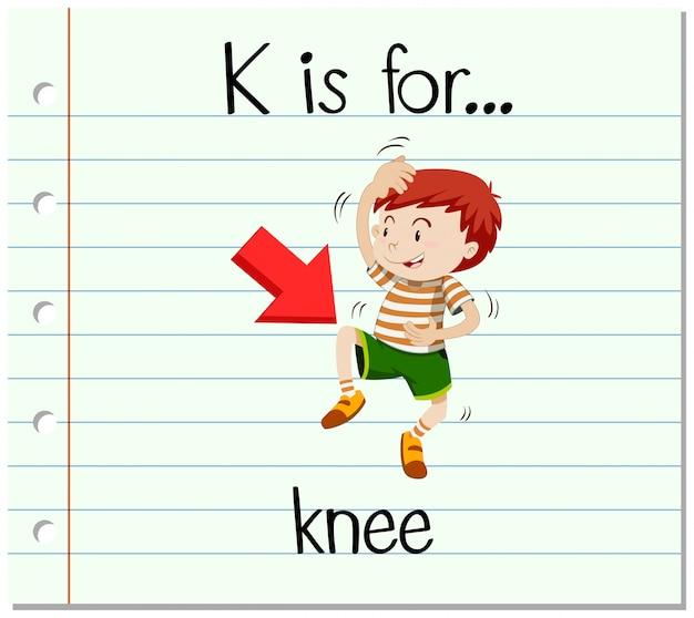 La lettera k di flashcard è per il ginocchio Vettore gratuito