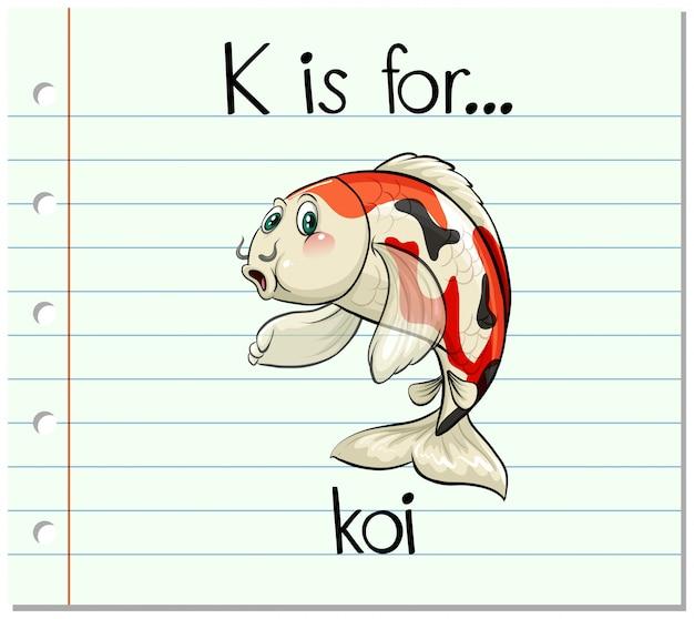 La lettera k di flashcard è per koi Vettore gratuito