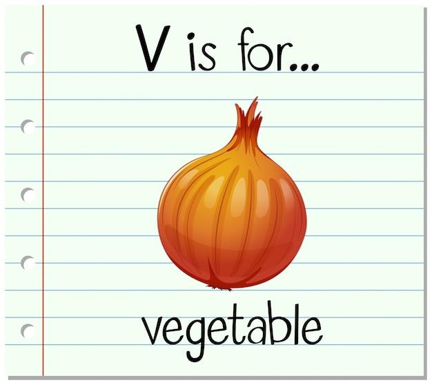 La lettera v di flashcard è per verdura Vettore gratuito