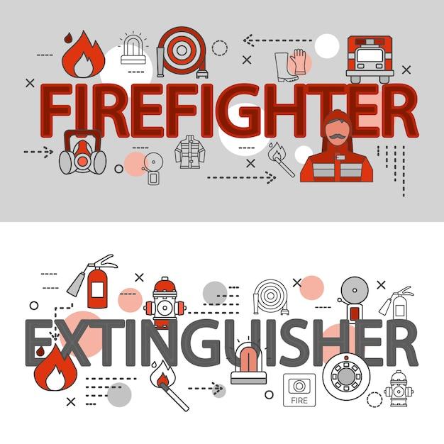 La linea orizzontale due insegne dei vigili del fuoco ha messo con il pompiere un'illustrazione di vettore di descrizioni dell'estintore Vettore gratuito
