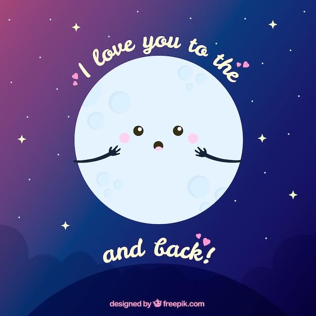 La Luna Di Fondo Con Una Bella Frase Romantica Scaricare Vettori