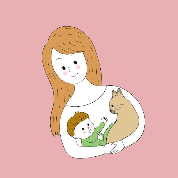 La madre sveglia del fumetto porta il vettore del gatto e del bambino. Vettore Premium