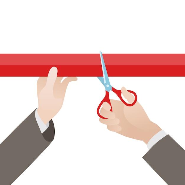 La mano con le forbici ha tagliato il nastro rosso contro lo sfondo bianco Vettore Premium
